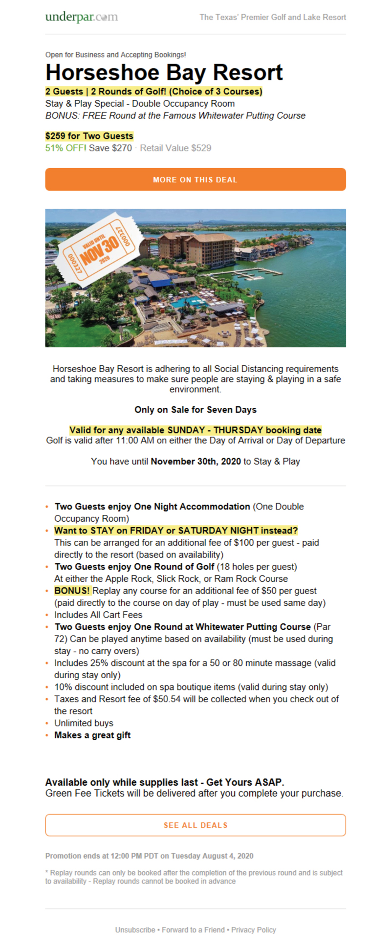 Horseshoe Bay Resort UnderPar Promotion